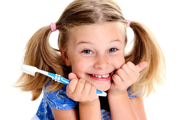 happy girl with healthy teeth